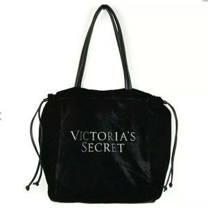 Victoria's Secret Black Velvet Luxe Bling LogoTote